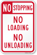 No Stopping No Loading No Unloading Sign
