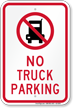 No Truck Parking Sign with Quaint Symbol