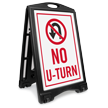 No U Turn Portable Sidewalk Sign