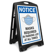 NOTICE: Masks Required in Parking Lot at All Times Sidewalk Sign