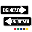 One Way Directional Parking Sign