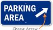 Parking Area Up Right Arrow Direction Sign