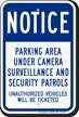Parking Lot Security Sign