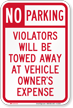 Unauthorized Towed Parking Sign