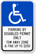 Parking By Disabled Permit Only Tow-Away Zone Sign