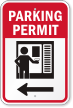 Parking Permit Left Direction Arrow Sign