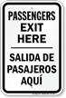 Passengers Exit Here Bilingual Drop Off Sign