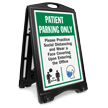 Patient Parking Only Practice Social Distancing and Wear a Face Covering Upon Entering BigBoss A-Frame Portable Sidewalk Sign