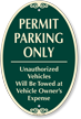 Permit Parking Only Unauthorized Vehicles Towed Sign