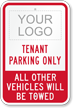 Personalized Tenant Parking Only Sign with Logo
