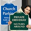 Private Driveway, No Turn Around Sign
