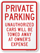 Private Parking Unauthorized Cars Towed Sign