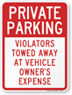 Private Parking Violators Towed Away Sign