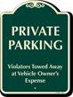 Private Parking, Violators Towed Away Sign