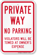 Private Way No Parking Sign