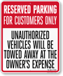 Florida Reserved Customer Parking Tow-Away Sign