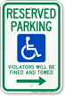 Reserved Parking Violators Fined Towed Right Sign