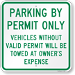 Parking By Permit Violators Towed Sign