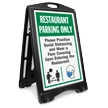 Restaurant Parking Only Practice Social Distancing and Wear a Face Covering Upon Entering BigBoss A-Frame Portable Sidewalk Sign