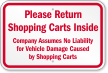 Please Return Shopping Carts Inside Sign