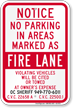 Sacramento Notice No Parking Fire Lane Sign