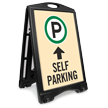 Self Parking Ahead With Arrow Sidewalk Sign