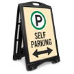Self Parking With Bidirectional Arrow Sidewalk Sign