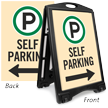 Self Parking With Directional Arrow Sidewalk Sign