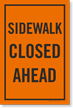 Sidewalk Closed Ahead Sign Insert For Kit