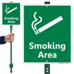 Smoking Area with Graphic Sign