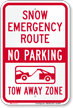 Snow Emergency Route, Tow-Away Zone Sign