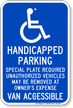 Massachusetts Disabled Parking, Van Accessible Sign