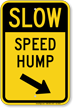 Speed Hump Diagonally Right Arrow Slow Sign