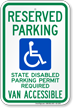 Washington Reserved Parking, Van Accessible Sign