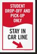 Stay In Car Line Sidewalk Sign Insert, Right Arrow