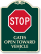 Stop Gates Open Toward Vehicle Sign