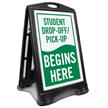 Student Drop-Off Pick-Up Begins Portable Sidewalk Sign