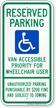 Tennessee Reserved Parking, Van Accessible Sign