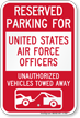 Reserved Parking United States Air Force Officers Sign