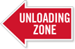 Unloading Zone, Left Die-Cut Directional Sign