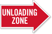 Unloading Zone, Right Die-Cut Directional Sign