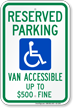 West Virginia Reserved Parking, Van Accessible Sign