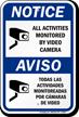 Notice Bilingual Video Camera Sign