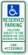 Ohio Reserved Parking, Van Accessible Sign