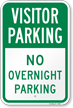 Visitor Parking No Overnight Parking Sign