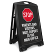 Visitors Report To Main Office Portable Sidewalk Sign
