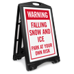 Warning Falling Snow And Ice Sidewalk Sign