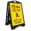 Watch For Children 15 Mph Sidewalk Sign