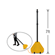 Big Boy XL Roll 'n' Pole Yellow Base & Pole - 7' Tall