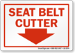 Seat Belt Cutter Down Arrow Label